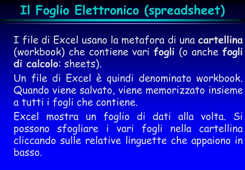 Il Foglio Elettronico (spreadsheet) I file di Excel usano la metafora di una cartellina (workbook) che contiene vari fogli (o anche fogli di calcolo: