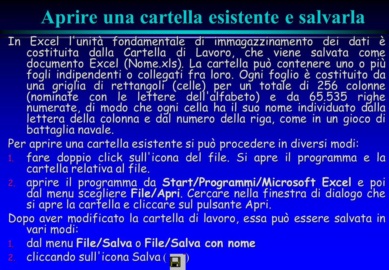 Aprire una cartella esistente e salvarla In Excel l'unità fondamentale di immagazzinamento dei dati è costituita dalla Cartella di Lavoro, che viene s