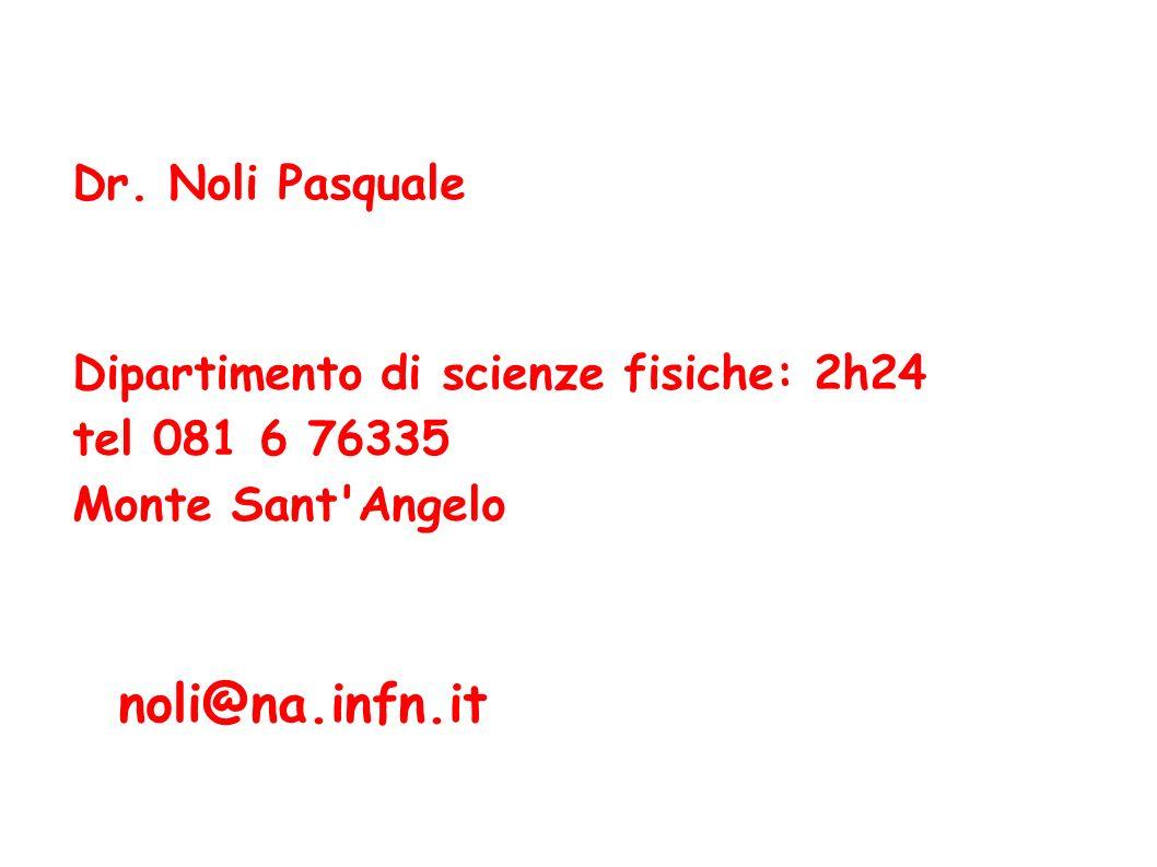noli@na.infn.it Dipartimento di scienze fisiche: 2h24 tel 081 6 76335 Monte Sant'Angelo Dr. Noli Pasquale