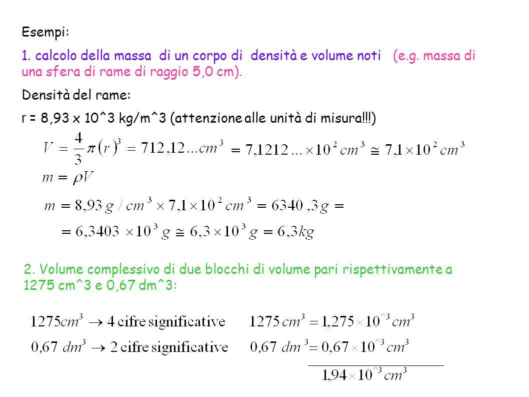 Esempi: 1. calcolo della massa di un corpo di densità e volume noti (e.g. massa di una sfera di rame di raggio 5,0 cm). Densità del rame: r = 8,93 x 1