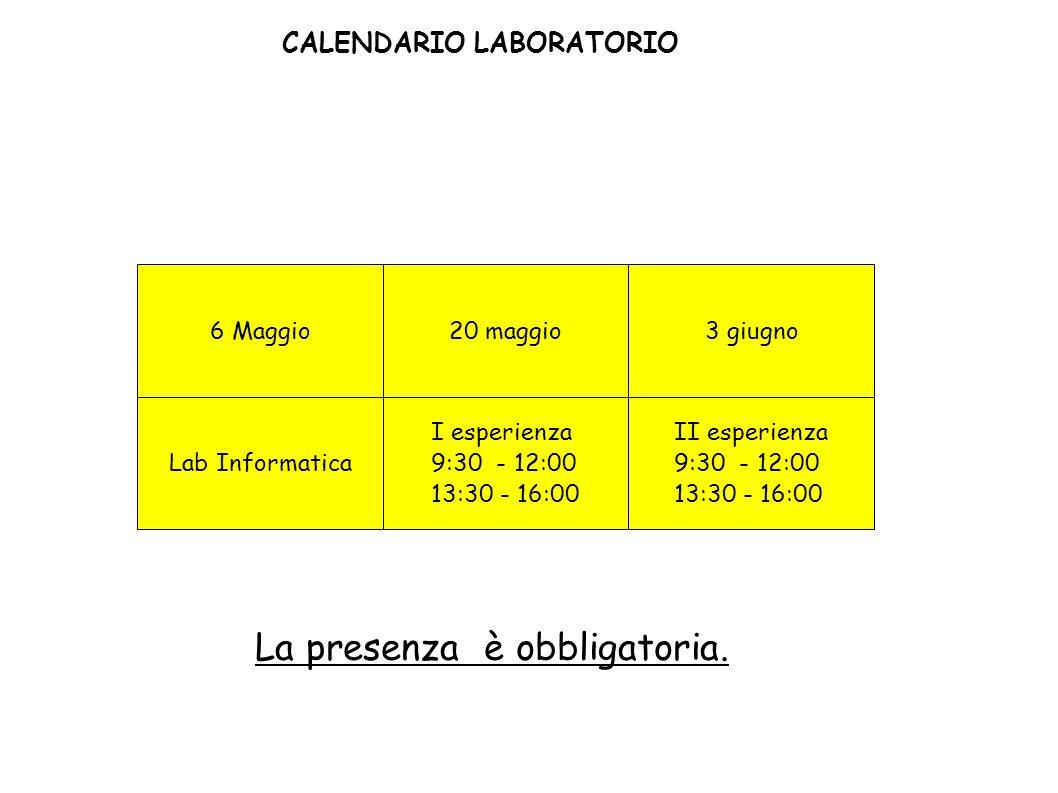 CALENDARIO LABORATORIO La presenza è obbligatoria. 6 Maggio3 giugno I esperienza 9:30 - 12:00 13:30 - 16:00 20 maggio II esperienza 9:30 - 12:00 13:30