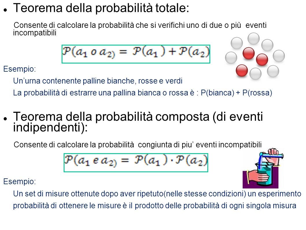 Teorema della probabilità totale: Consente di calcolare la probabilità che si verifichi uno di due o più eventi incompatibili Esempio: Unurna contenen
