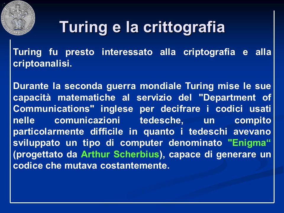 Turing e la crittografia Turing fu presto interessato alla criptografia e alla criptoanalisi. Durante la seconda guerra mondiale Turing mise le sue ca