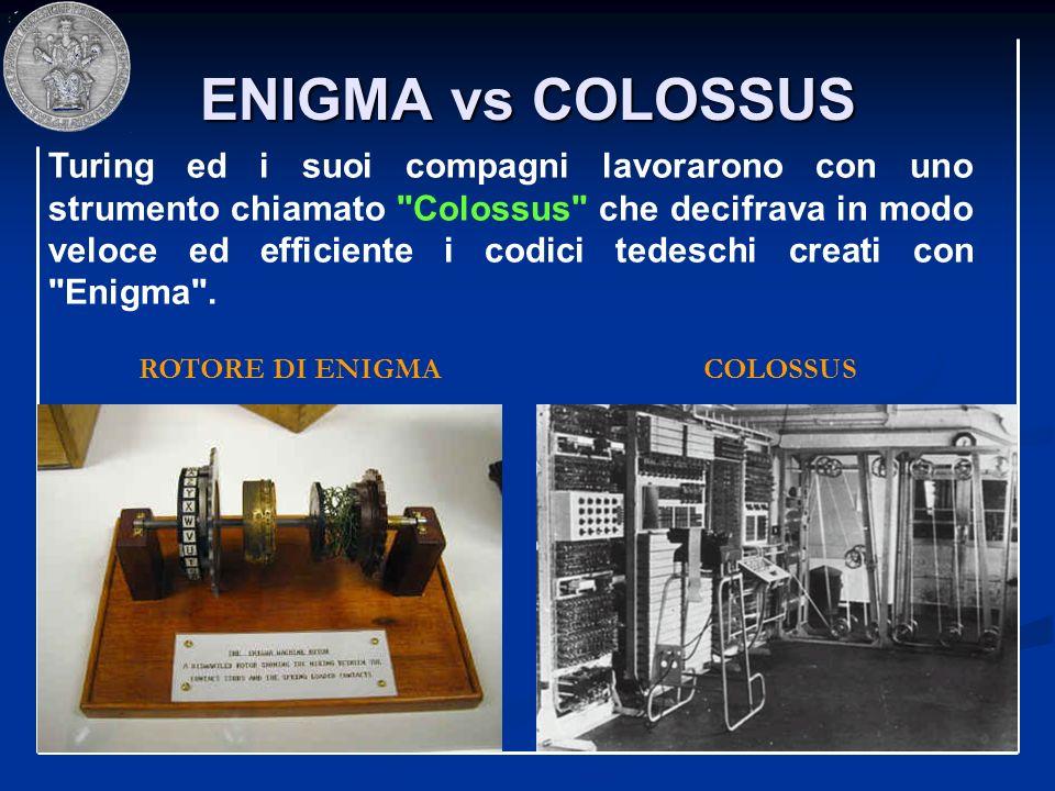 ENIGMA vs COLOSSUS ROTORE DI ENIGMACOLOSSUS Turing ed i suoi compagni lavorarono con uno strumento chiamato