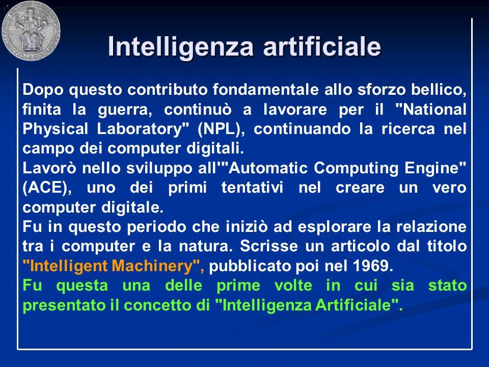 Intelligenza artificiale Dopo questo contributo fondamentale allo sforzo bellico, finita la guerra, continuò a lavorare per il