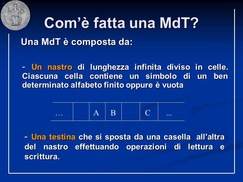 Comè fatta una MdT? Una MdT è composta da: Una MdT è composta da: - Un nastro di lunghezza infinita diviso in celle. Ciascuna cella contiene un simbol