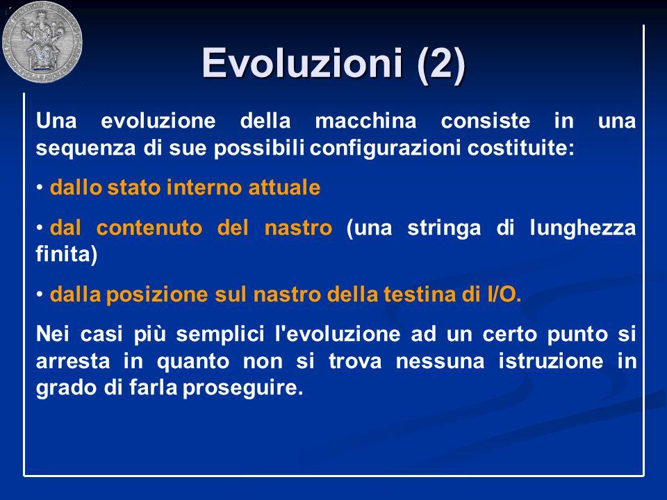 Evoluzioni (2) Una evoluzione della macchina consiste in una sequenza di sue possibili configurazioni costituite: dallo stato interno attuale dal cont
