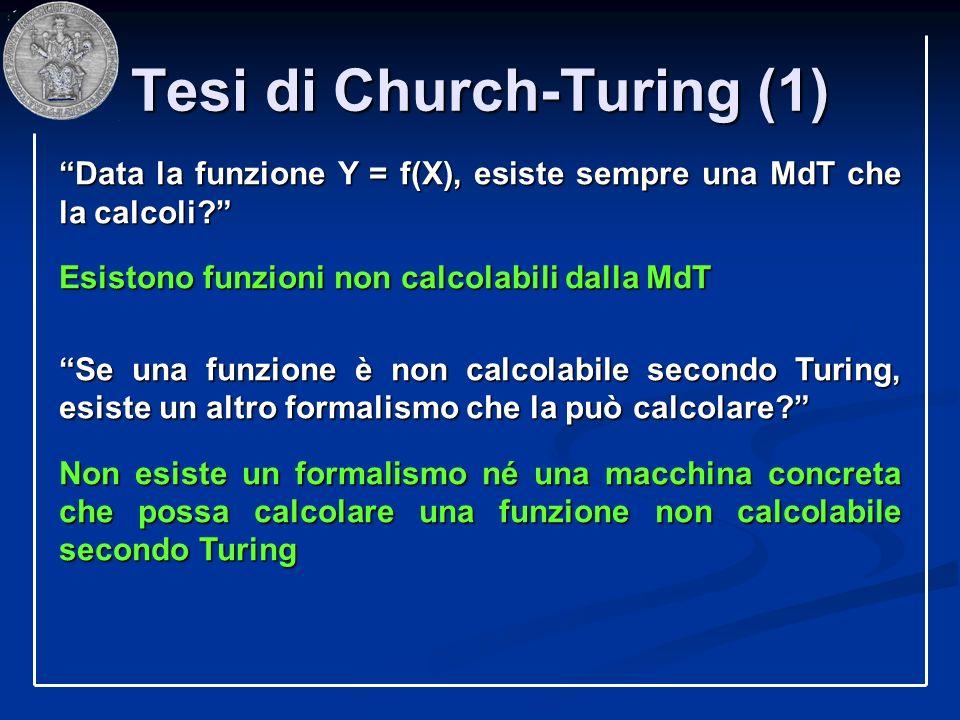 Tesi di Church-Turing (1) Data la funzione Y = f(X), esiste sempre una MdT che la calcoli? Esistono funzioni non calcolabili dalla MdT Se una funzione