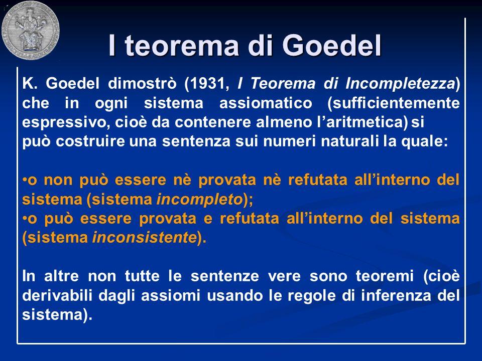 I teorema di Goedel I teorema di Goedel K. Goedel dimostrò (1931, I Teorema di Incompletezza) che in ogni sistema assiomatico (sufficientemente espres