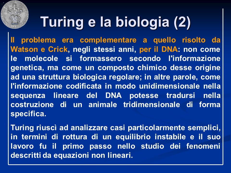 Turing e la biologia (2) Il problema era complementare a quello risolto da Watson e Crick, negli stessi anni, per il DNA: non come le molecole si form