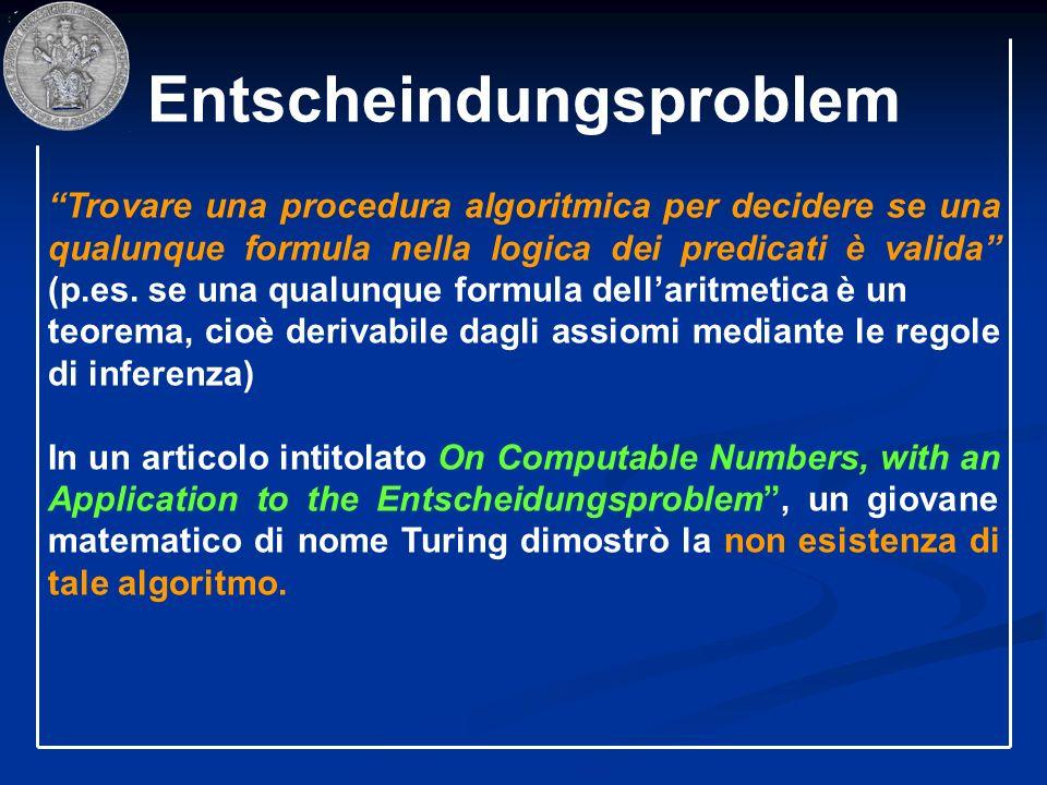 Entscheindungsproblem Trovare una procedura algoritmica per decidere se una qualunque formula nella logica dei predicati è valida (p.es. se una qualun