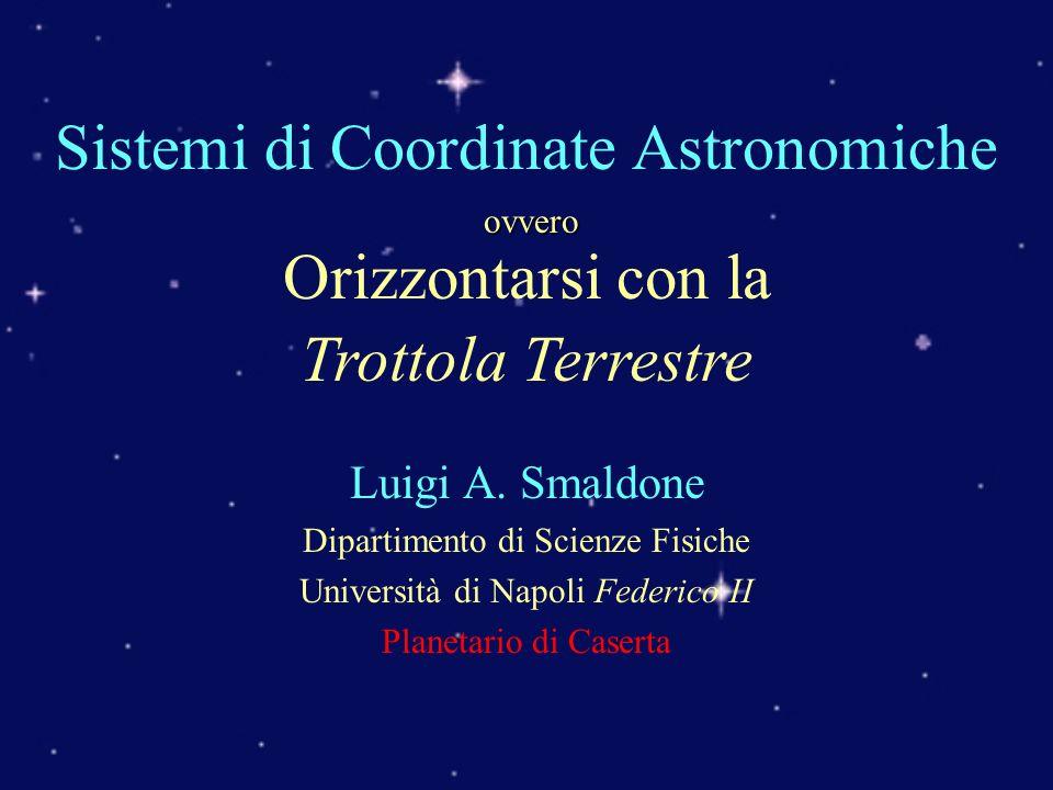 Obiettivi Ritrovare oggetti nel cielo Definire orientamenti sulla Terra Soluzione: Sistemi di riferimento