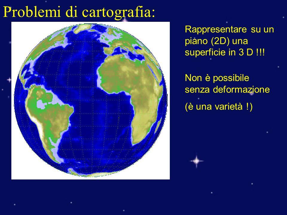 Problemi di cartografia: Rappresentare su un piano (2D) una superficie in 3 D !!! Non è possibile senza deformazione (è una varietà !)