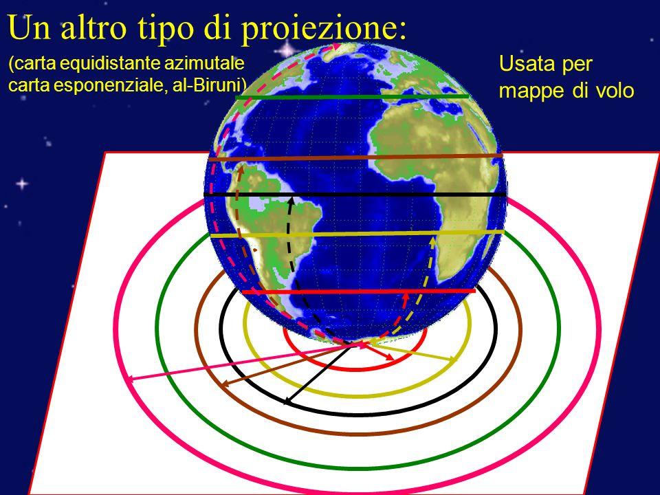 Un altro tipo di proiezione: Usata per mappe di volo (carta equidistante azimutale carta esponenziale, al-Biruni)