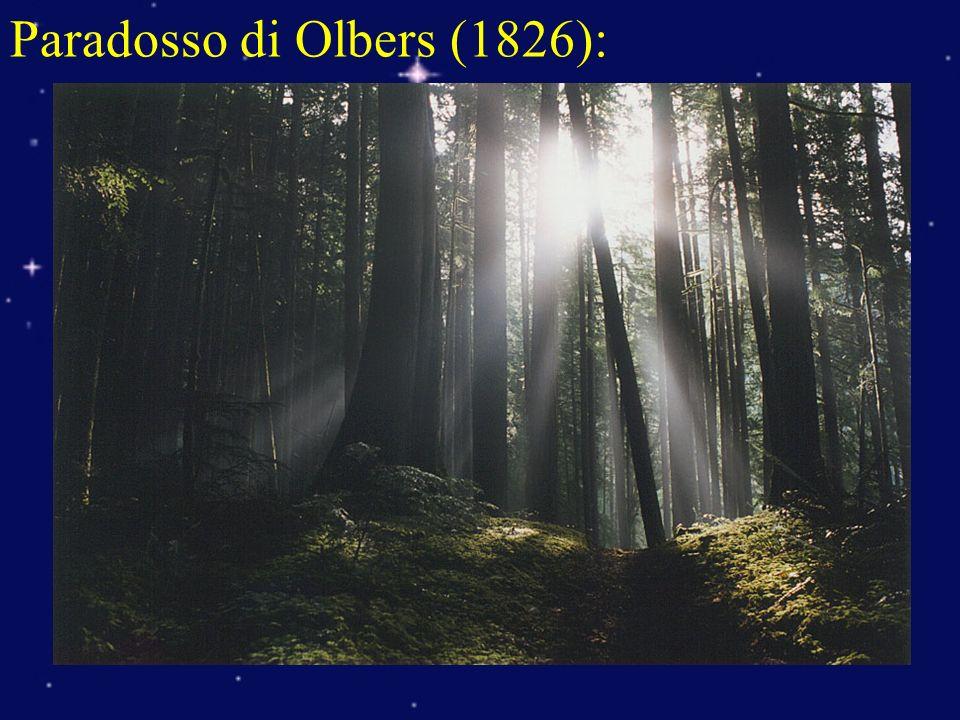 Paradosso di Olbers (1826): Se luniverso è infinito, uniforme, statico con stelle e galassie, ogni punto del cielo notturno deve essere brillante come