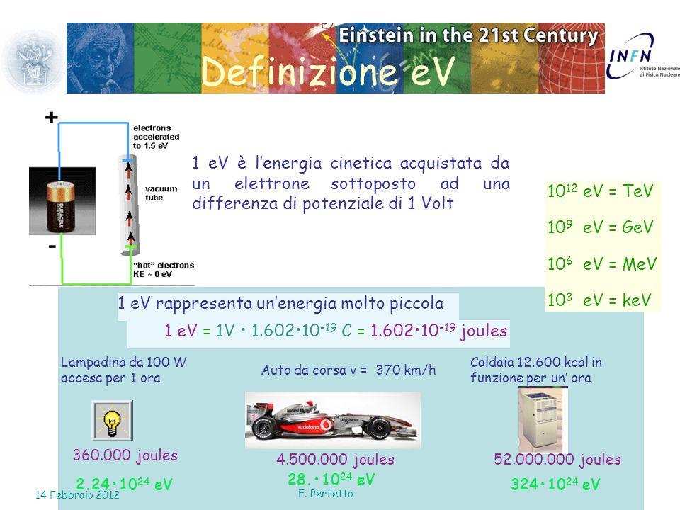 11 Definizione eV 1 eV è lenergia cinetica acquistata da un elettrone sottoposto ad una differenza di potenziale di 1 Volt 1 eV rappresenta unenergia