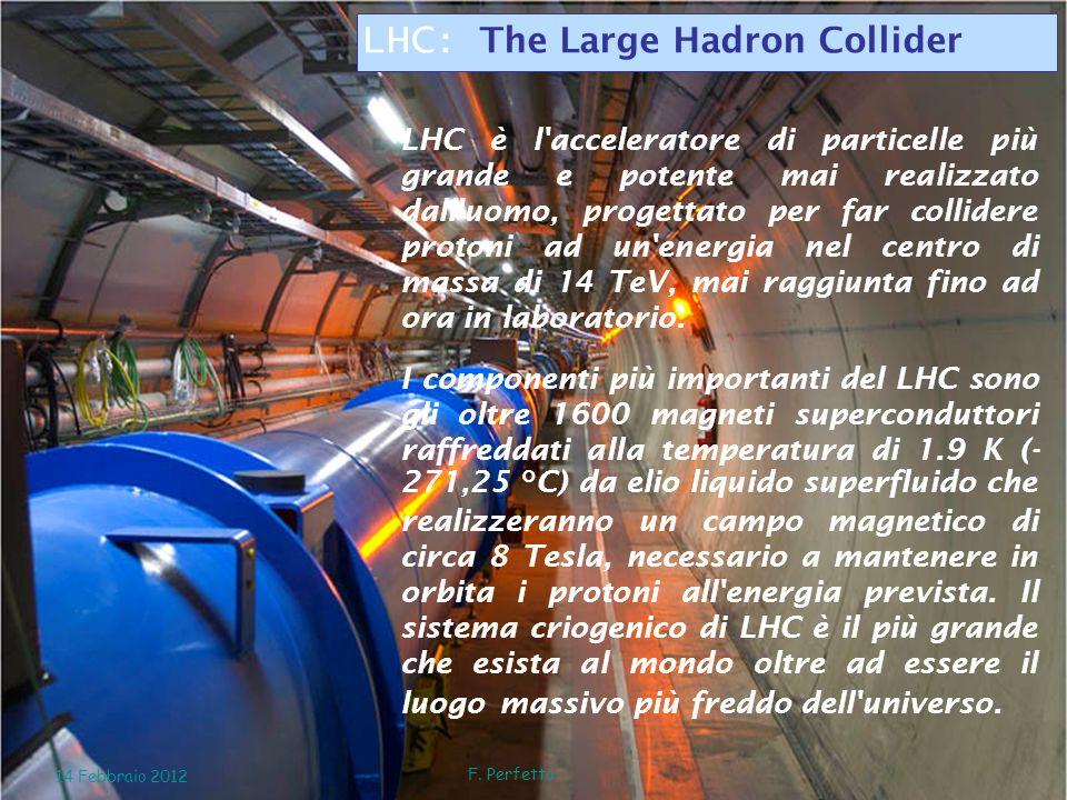 LHC è l'acceleratore di particelle più grande e potente mai realizzato dall'uomo, progettato per far collidere protoni ad un'energia nel centro di mas