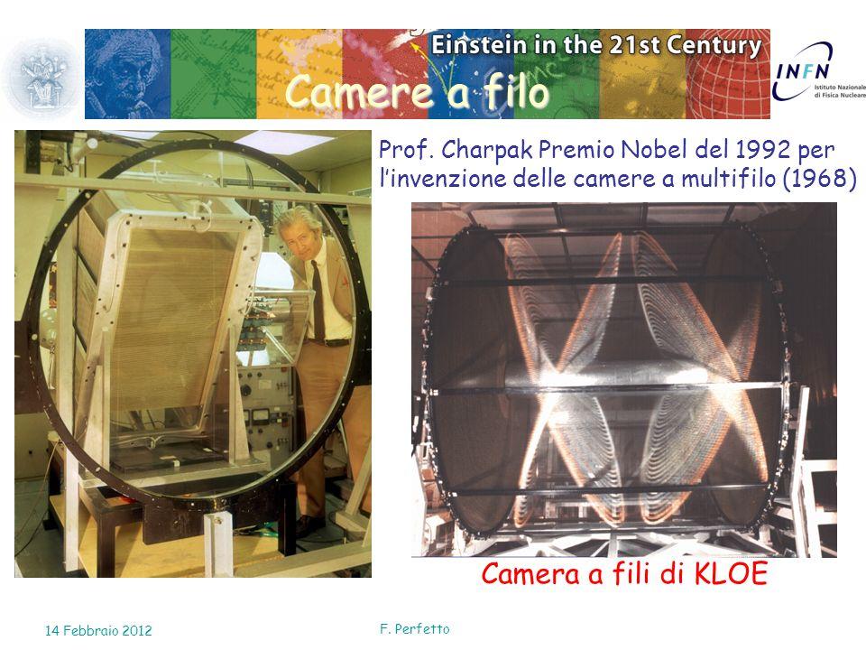 Camere a filo Prof. Charpak Premio Nobel del 1992 per linvenzione delle camere a multifilo (1968) Camera a fili di KLOE 14 Febbraio 2012 F. Perfetto
