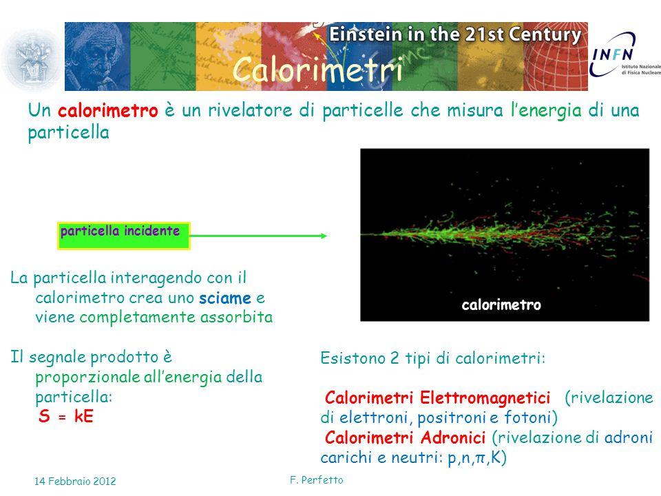 Esistono 2 tipi di calorimetri: Calorimetri Elettromagnetici (rivelazione di elettroni, positroni e fotoni) Calorimetri Adronici (rivelazione di adron