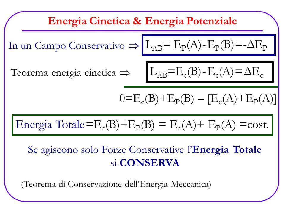 Energia Cinetica & Energia Potenziale L AB =E c (B) - E c (A) = ΔE c In un Campo Conservativo L AB = E P (A) - E P (B) =-ΔE P Teorema energia cinetica