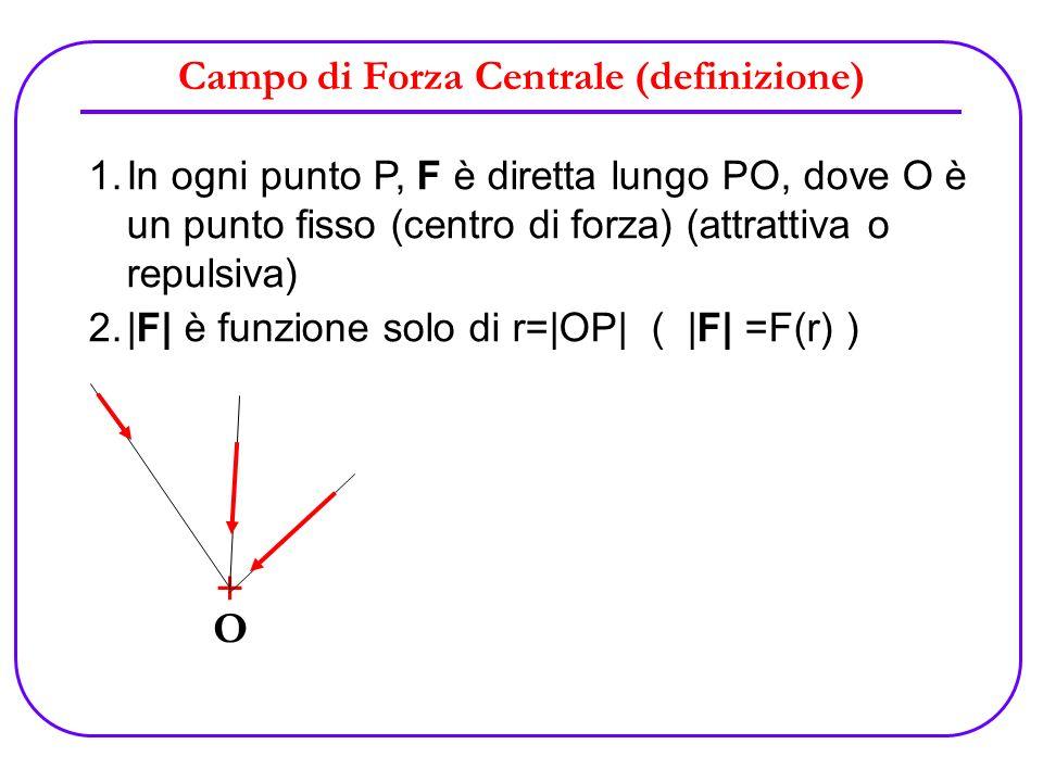Campo di Forza Centrale (definizione) 1.In ogni punto P, F è diretta lungo PO, dove O è un punto fisso (centro di forza) (attrattiva o repulsiva) 2. F