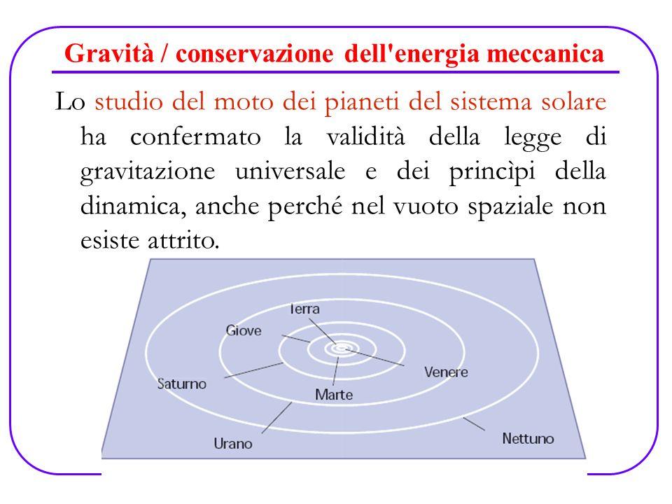 Gravità / conservazione dell'energia meccanica Lo studio del moto dei pianeti del sistema solare ha confermato la validità della legge di gravitazione