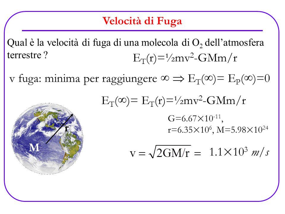 Velocità di Fuga Qual è la velocità di fuga di una molecola di O 2 dellatmosfera terrestre ? E T (r)=½mv 2 -GMm/r M r v fuga: minima per raggiungere E
