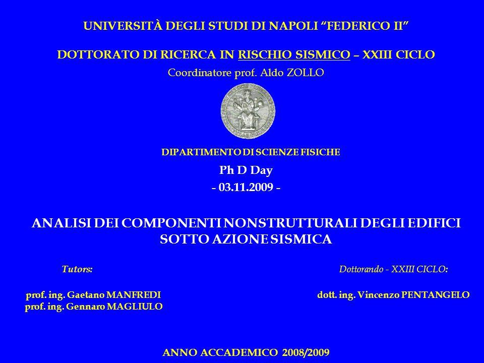 UNIVERSITÀ DEGLI STUDI DI NAPOLI FEDERICO II DOTTORATO DI RICERCA IN RISCHIO SISMICO – XXIII CICLO Coordinatore prof. Aldo ZOLLO DIPARTIMENTO DI SCIEN