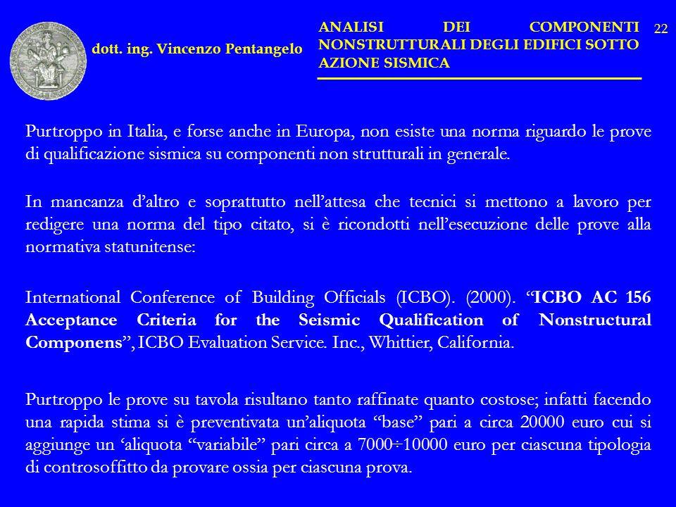 dott. ing. Vincenzo Pentangelo ANALISI DEI COMPONENTI NONSTRUTTURALI DEGLI EDIFICI SOTTO AZIONE SISMICA Purtroppo in Italia, e forse anche in Europa,