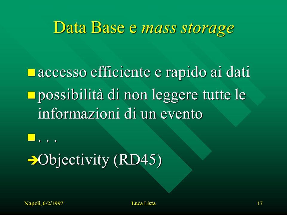 Napoli, 6/2/1997Luca Lista17 Data Base e mass storage n accesso efficiente e rapido ai dati n possibilità di non leggere tutte le informazioni di un evento n...