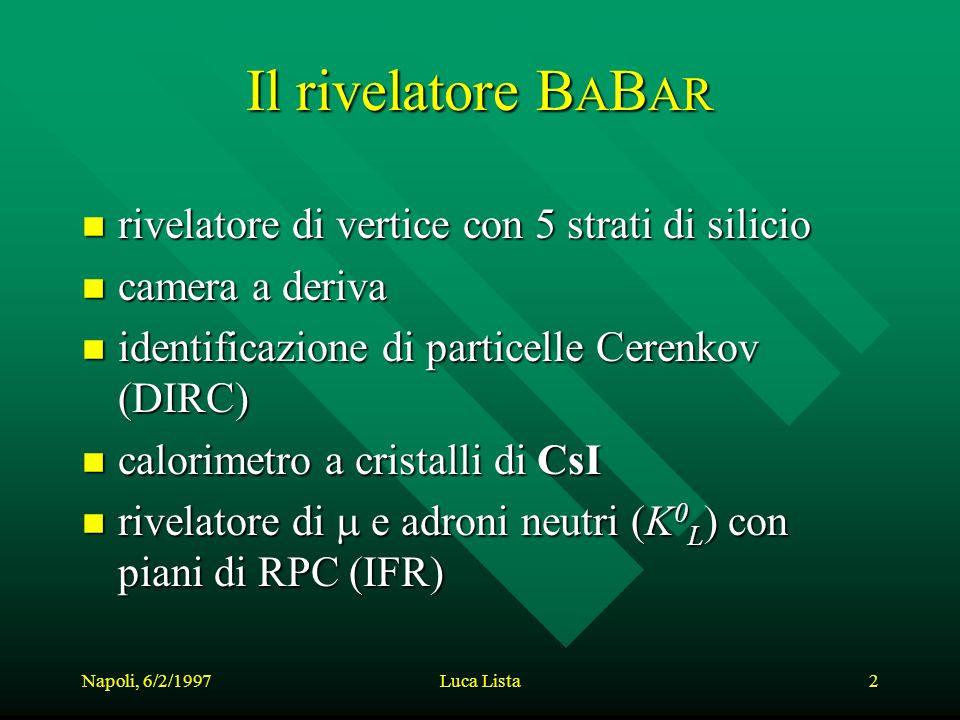 Napoli, 6/2/1997Luca Lista2 Il rivelatore B A B AR n rivelatore di vertice con 5 strati di silicio n camera a deriva n identificazione di particelle Cerenkov (DIRC) n calorimetro a cristalli di CsI rivelatore di e adroni neutri (K 0 L ) con piani di RPC (IFR) rivelatore di e adroni neutri (K 0 L ) con piani di RPC (IFR)