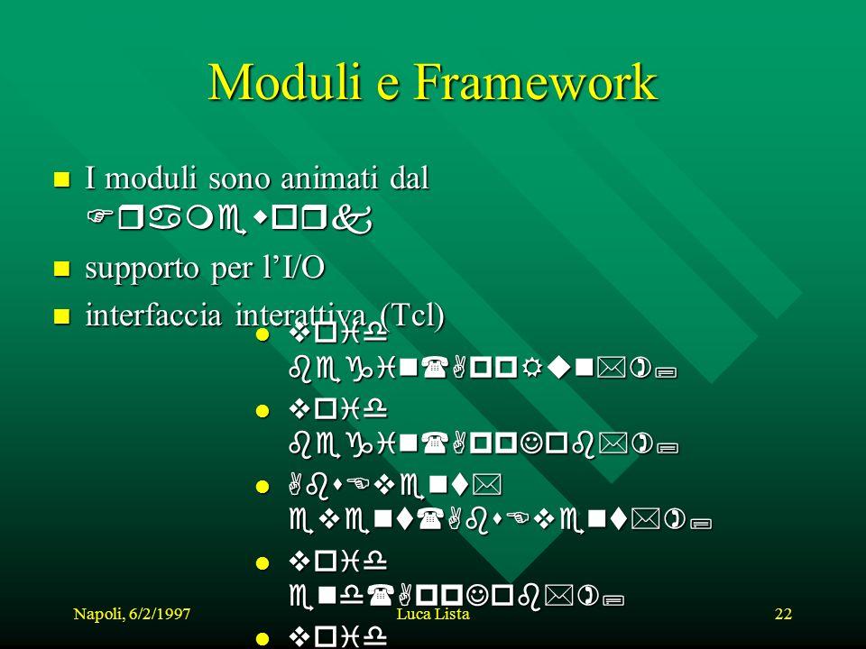 Napoli, 6/2/1997Luca Lista22 Moduli e Framework I moduli sono animati dal Framework I moduli sono animati dal Framework n supporto per lI/O n interfaccia interattiva (Tcl) void begin(AppRun*); void begin(AppRun*); void begin(AppJob*); void begin(AppJob*); AbsEvent* event(AbsEvent*); AbsEvent* event(AbsEvent*); void end(AppJob*); void end(AppJob*); void end(AppRun*); void end(AppRun*); void abort(AppJob*); void abort(AppJob*); void help(); void help();