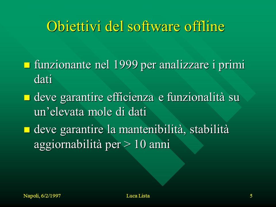 Napoli, 6/2/1997Luca Lista5 Obiettivi del software offline n funzionante nel 1999 per analizzare i primi dati n deve garantire efficienza e funzionalità su unelevata mole di dati n deve garantire la mantenibilità, stabilità aggiornabilità per > 10 anni