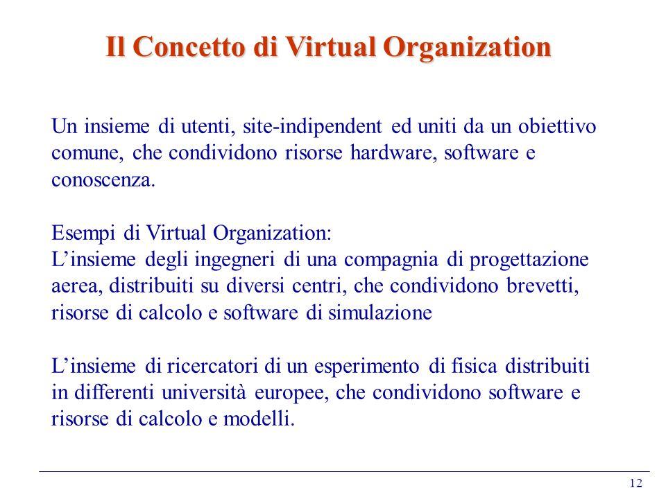 12 Un insieme di utenti, site-indipendent ed uniti da un obiettivo comune, che condividono risorse hardware, software e conoscenza. Esempi di Virtual