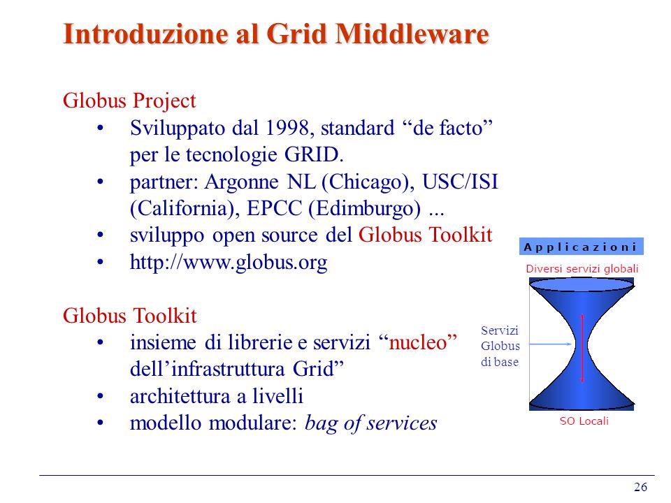 26 Introduzione al Grid Middleware Globus Project Sviluppato dal 1998, standard de facto per le tecnologie GRID. partner: Argonne NL (Chicago), USC/IS