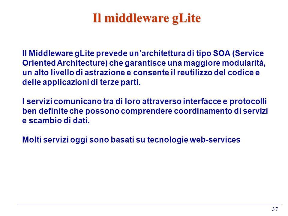37 Il middleware gLite Il Middleware gLite prevede unarchitettura di tipo SOA (Service Oriented Architecture) che garantisce una maggiore modularità,