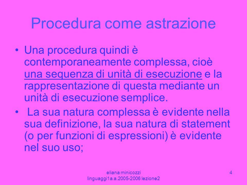 eliana minicozzi linguaggi1a.a.2005-2006 lezione2 4 Procedura come astrazione Una procedura quindi è contemporaneamente complessa, cioè una sequenza d