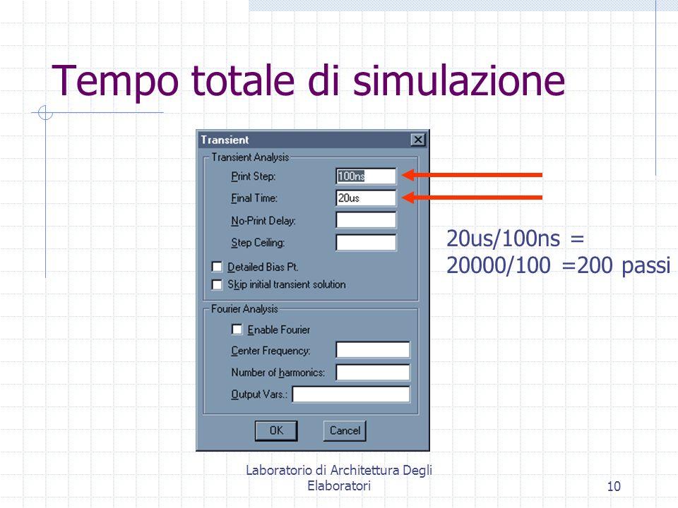 Laboratorio di Architettura Degli Elaboratori10 Tempo totale di simulazione 20us/100ns = 20000/100 =200 passi