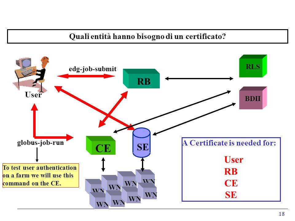 18 Quali entità hanno bisogno di un certificato? RB CE WN RLS BDII SE User A Certificate is needed for: User RB CE SE edg-job-submit globus-job-run To