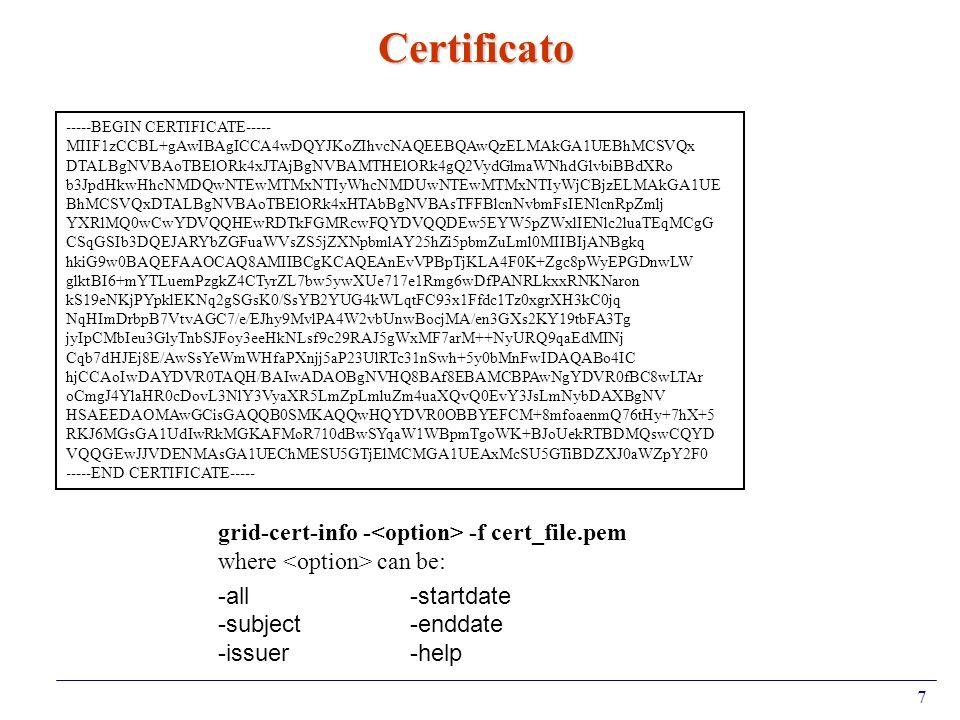 7 Certificato -----BEGIN CERTIFICATE----- MIIF1zCCBL+gAwIBAgICCA4wDQYJKoZIhvcNAQEEBQAwQzELMAkGA1UEBhMCSVQx DTALBgNVBAoTBElORk4xJTAjBgNVBAMTHElORk4gQ2V