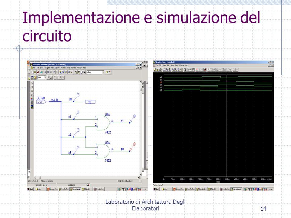 Laboratorio di Architettura Degli Elaboratori14 Implementazione e simulazione del circuito