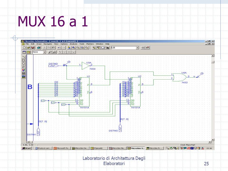 Laboratorio di Architettura Degli Elaboratori25 MUX 16 a 1