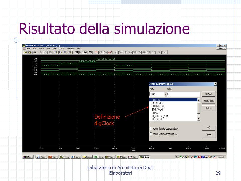 Laboratorio di Architettura Degli Elaboratori29 Risultato della simulazione Definizione digClock