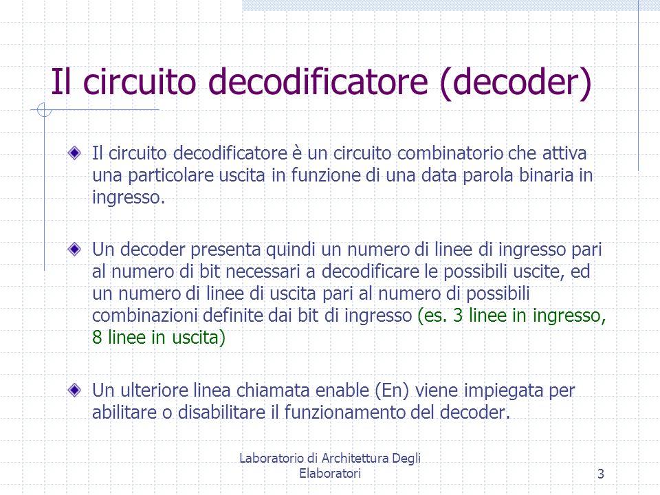 Laboratorio di Architettura Degli Elaboratori3 Il circuito decodificatore (decoder) Il circuito decodificatore è un circuito combinatorio che attiva u