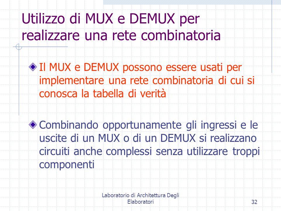 Laboratorio di Architettura Degli Elaboratori32 Utilizzo di MUX e DEMUX per realizzare una rete combinatoria Il MUX e DEMUX possono essere usati per i