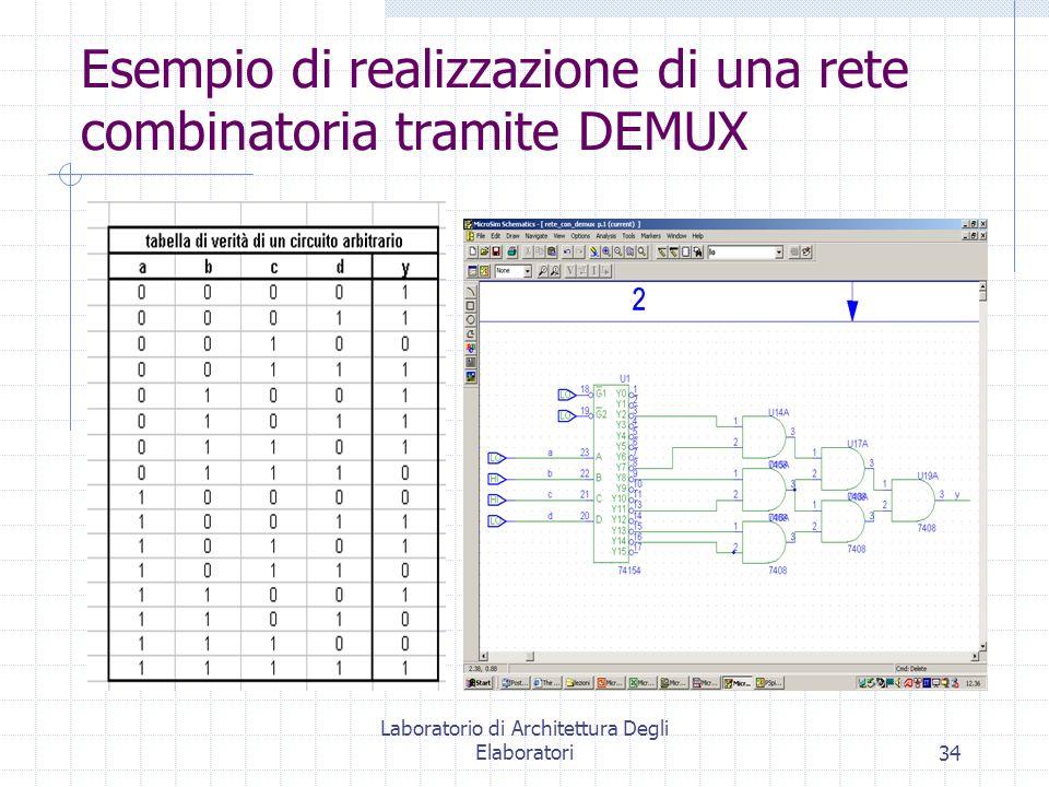 Laboratorio di Architettura Degli Elaboratori34 Esempio di realizzazione di una rete combinatoria tramite DEMUX