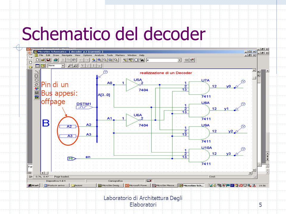 Laboratorio di Architettura Degli Elaboratori5 Schematico del decoder Pin di un Bus appesi: offpage