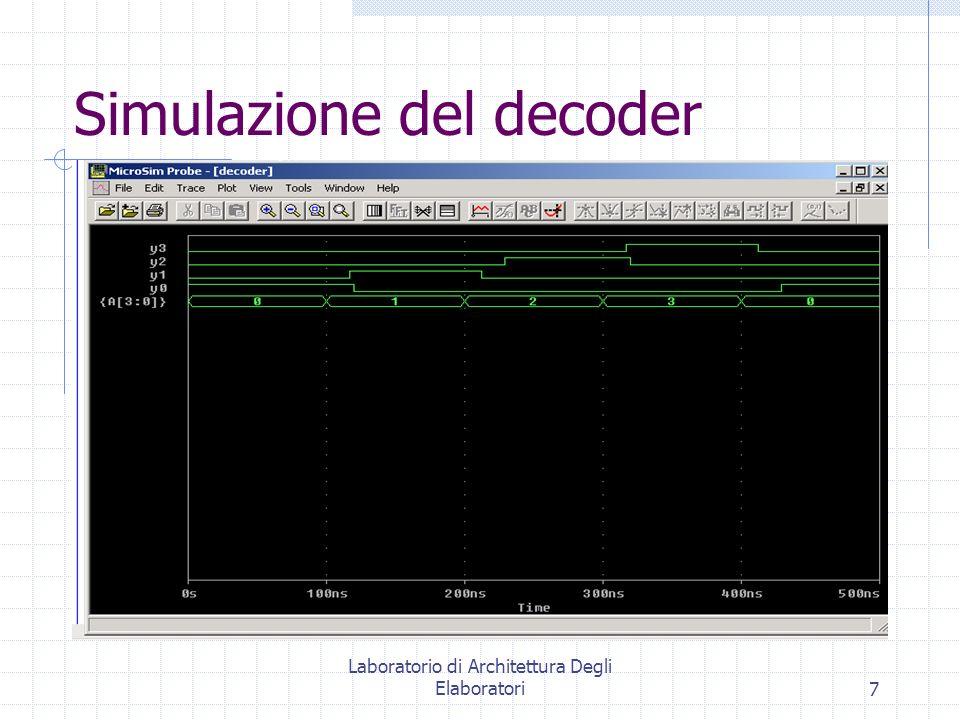 Laboratorio di Architettura Degli Elaboratori7 Simulazione del decoder