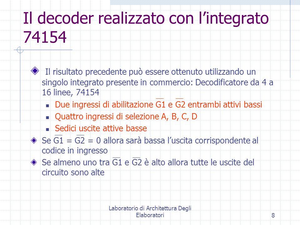 Laboratorio di Architettura Degli Elaboratori8 Il decoder realizzato con lintegrato 74154 Il risultato precedente può essere ottenuto utilizzando un s