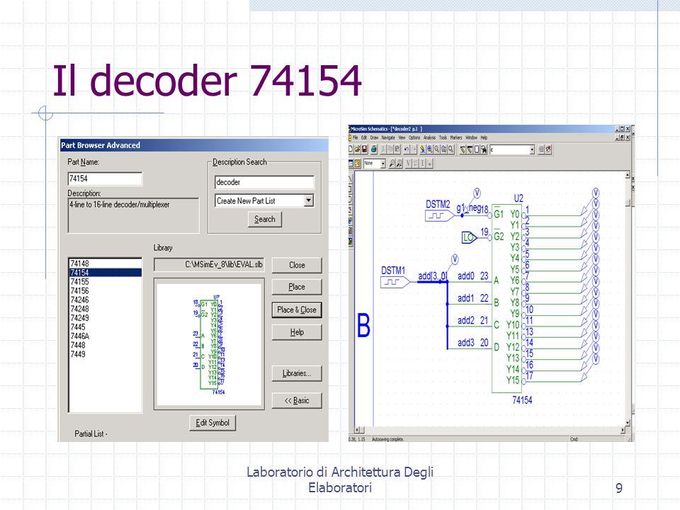 Laboratorio di Architettura Degli Elaboratori9 Il decoder 74154